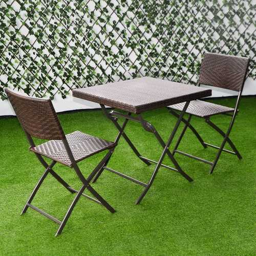 3 pcs Patio Folding Rattan Seat