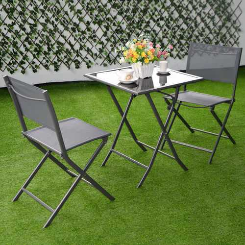 3 pcs Bistro Outdoor Folding Furniture Set