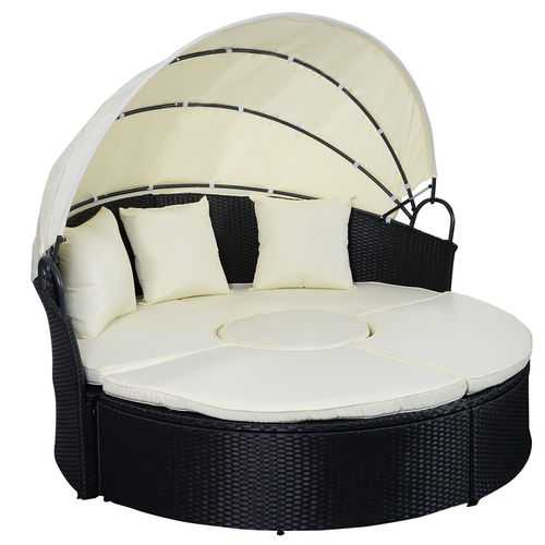 2-in-1 Outdoor Patio Rattan Round Retractable Canopy Daybed