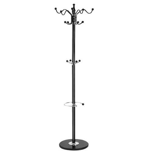 "70"" Metal Coat Hat Hanger Stand with 15 Hooks Marble Base"