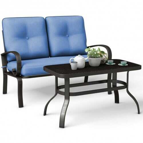 2 Pcs Patio Outdoor Cushioned Coffee Table Seat-Blue - Color: Blue