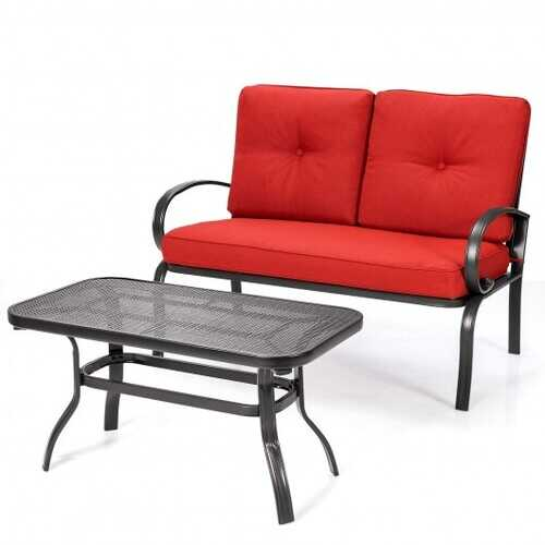 2 Pcs Patio Outdoor Cushioned Coffee Table Seat-Red - Color: Red