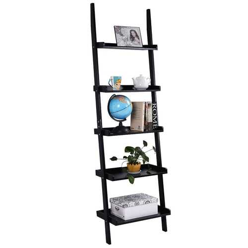 5-Tier Leaning Wall Display Bookcase-Black