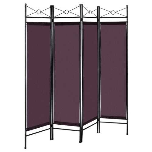 4 Panels Metal Frame Room Private Folding Screen-Brown - Color: Brown