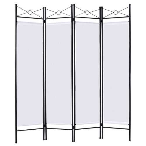 4 Panels Metal Frame Room Private Folding Screen-White - Color: White