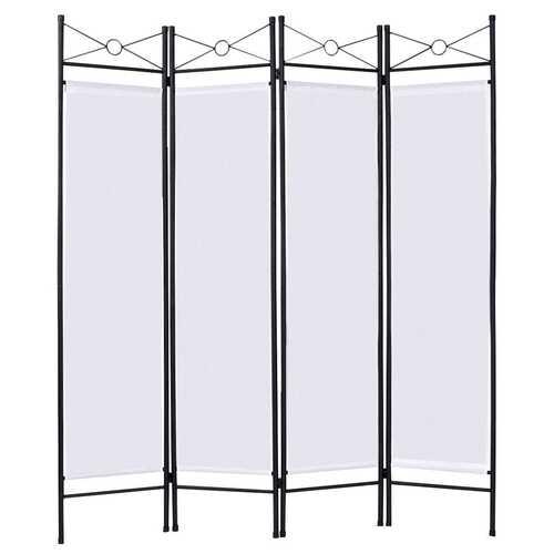 4 Panels Metal Frame Room Private Folding Screen-White