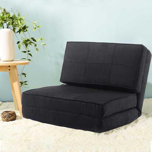 Convertible Lounger Folding Sofa Sleeper Bed-Black