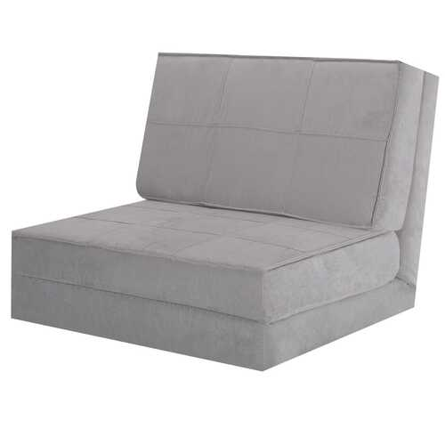 Convertible Lounger Folding Sofa Sleeper Bed-Gray