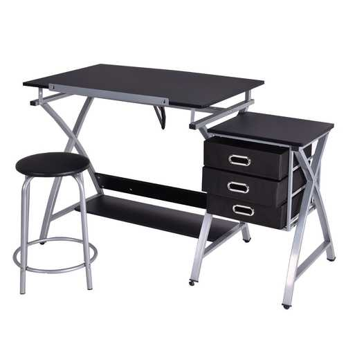 Adjustable Drafting Table Drawing Desk with Stools