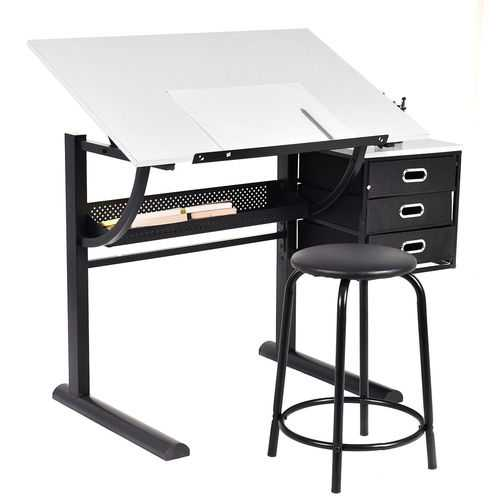 Adjustable Drafting Table Art & Craft Drawing Desk w/Stool