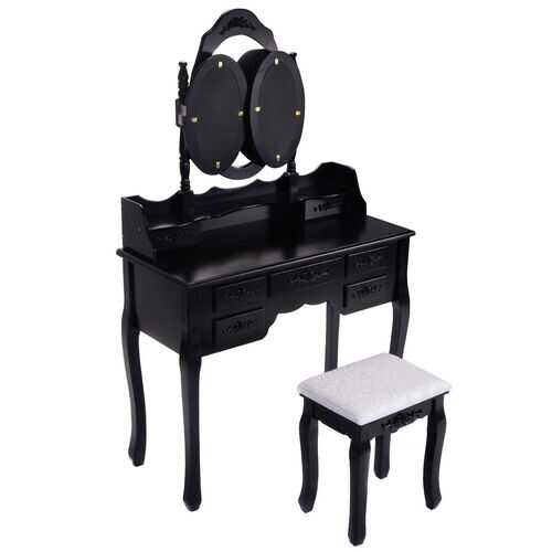 Black / White Vanity Makeup Dressing Table w/ Tri Folding Mirror + 7 Drawers-Black