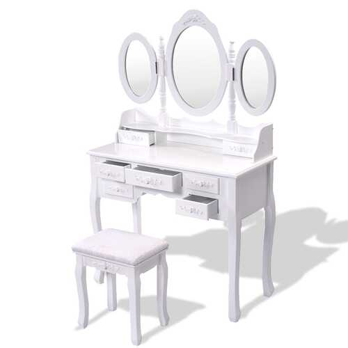 Black / White Vanity Makeup Dressing Table w/ Tri Folding Mirror + 7 Drawers-White