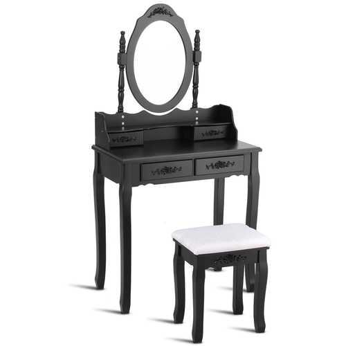 Bedroom Mirror Wood Makeup Table Stool Set