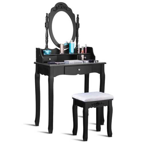 3 Drawer Mirror Makeup Dressing Table Stool Set