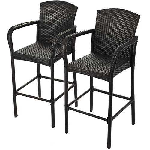 2 pcs Rattan Bar Stool Set High Chairs