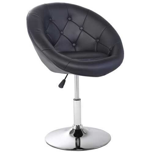 1 PC Modern Adjustable Swivel Round PU Leather Chair-Black