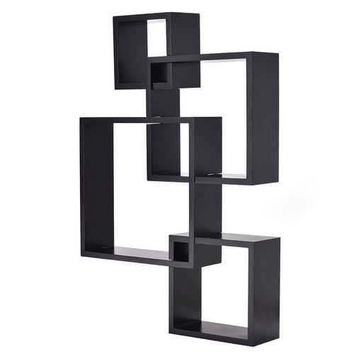 4 Intersecting Square Floating Wall Mounted Shelf