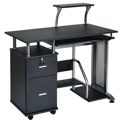 Black Computer Desk with Printer Shelf