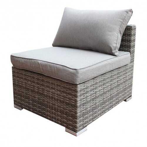 Patio Combination Cushioned PE Wicker Sofa Furniture Set-C