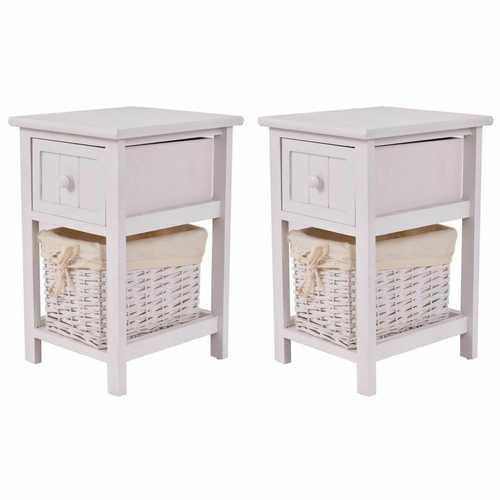Set of 2 Mini Night Stand 2 Layer 1 Drawer End Table Organizer Wood