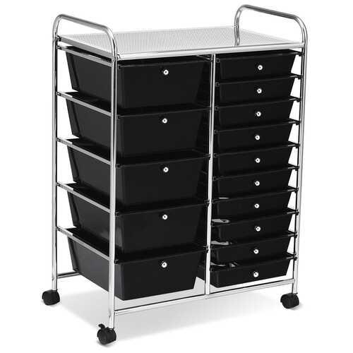 15-Drawer Utility Rolling Organizer Cart Multi-Use Storage-Black