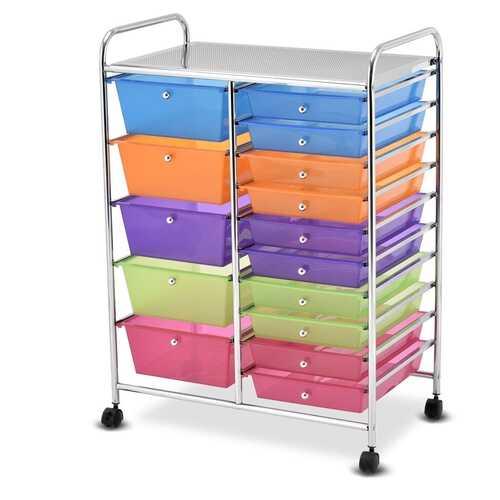 15 Drawers Rolling Storage Cart Organizer