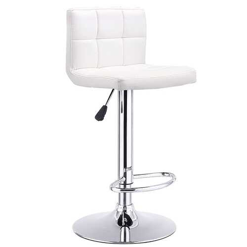 1 PC Bar Stool Swivel Adjustable PU Leather Barstools Bistro Pub Chair-White