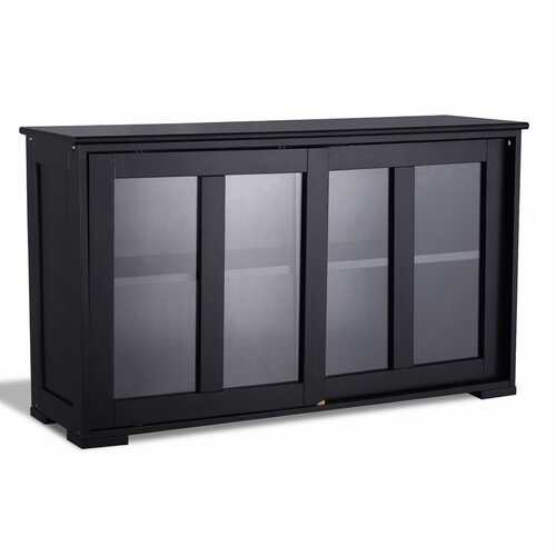 Kitchen Storage Cabinet with Glass Sliding Door