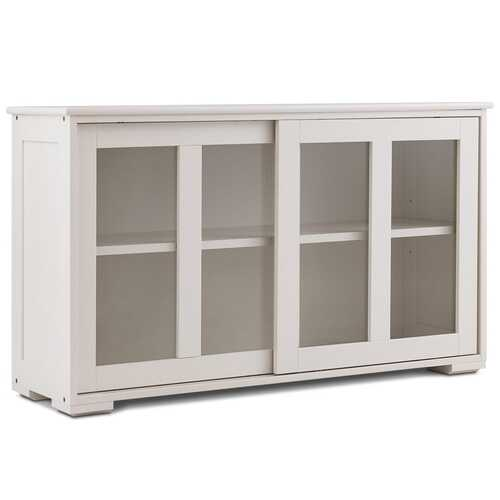 Sideboard Buffet Cupboard Storage Cabinet with Sliding Door-Cream White