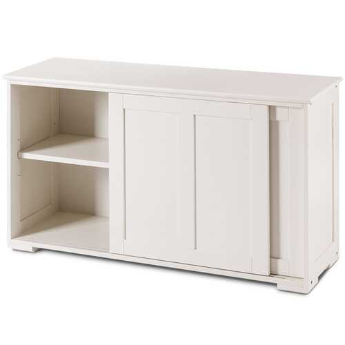 Kitchen Storage Cupboard Cabinet with Sliding Door-Cream White