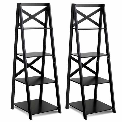 4-Tier Wood Display Storage Bookshelf-Black