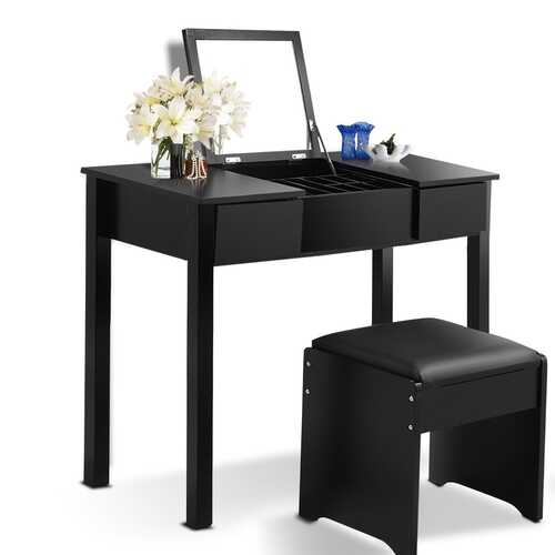 Black / White Vanity Makeup Dressing Table Writing Desk Set with Flip Top Mirror and Cushioned Stool-Black
