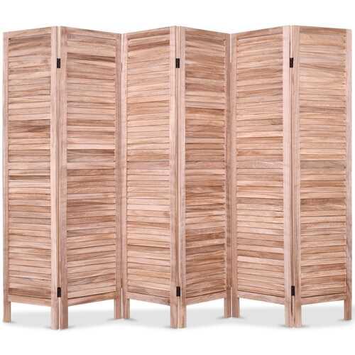 6 Panels Classic Venetian Wooden Slat Room Screen-Brown