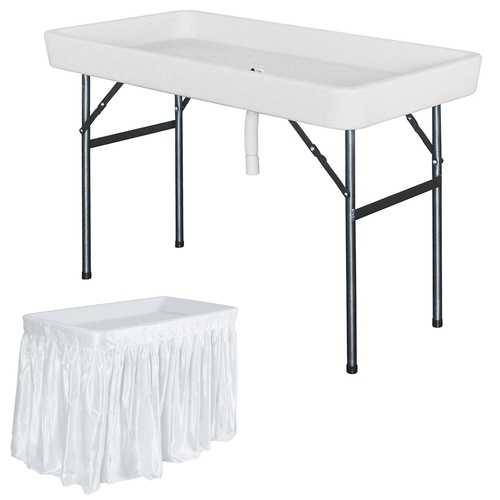 4 Foot Plastic Party Ice Folding Table with Matching Skirt