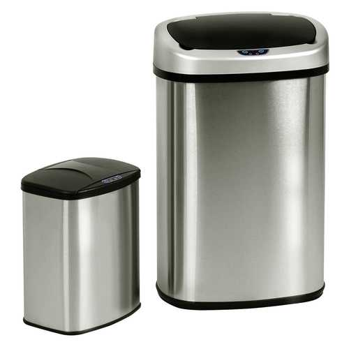 Set of 2 Touch-Free Motion Sensor Bins Trash Cans