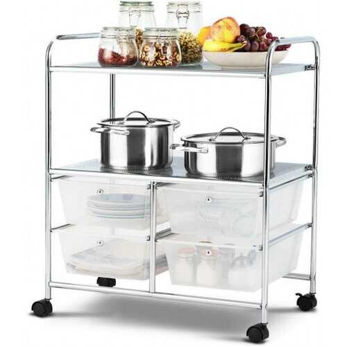 4 Drawers Shelves Rolling Storage Cart Rack-Clear