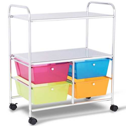 4 Drawers Shelves Rolling Storage Cart Rack-Multicolor