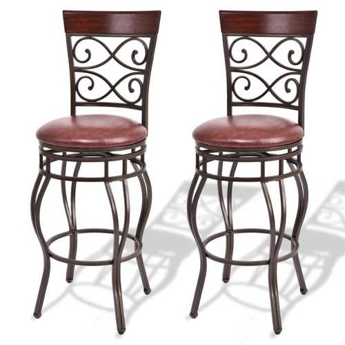 360 Degree Swivel Bar Stools Set of 2 with Leather Padded Seat