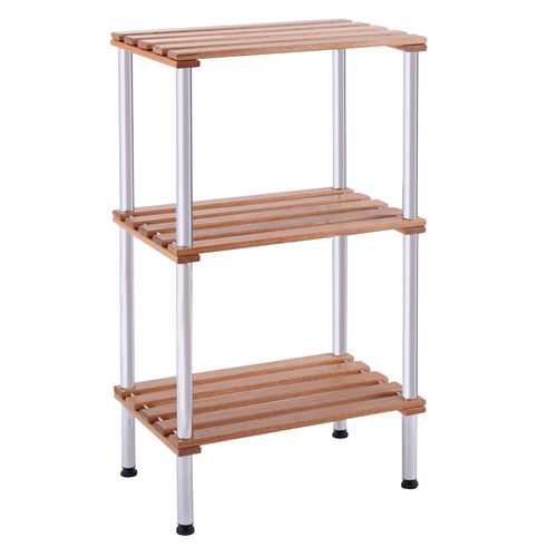 3-Tier Wood Slat Storage Rack Display Shelving