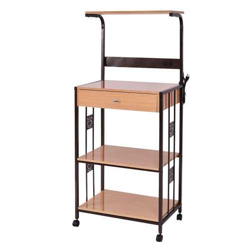 3-tier Iron Frame Rolling Kitchen Storage Cart w/ Electric Outlet