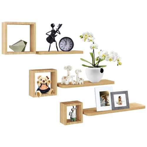 Set of 6 Home Display Floating Wall Mounted Shelves-Natural