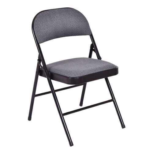 Set of 4 Fabric Upholstered Padded Seat Folding Chairs