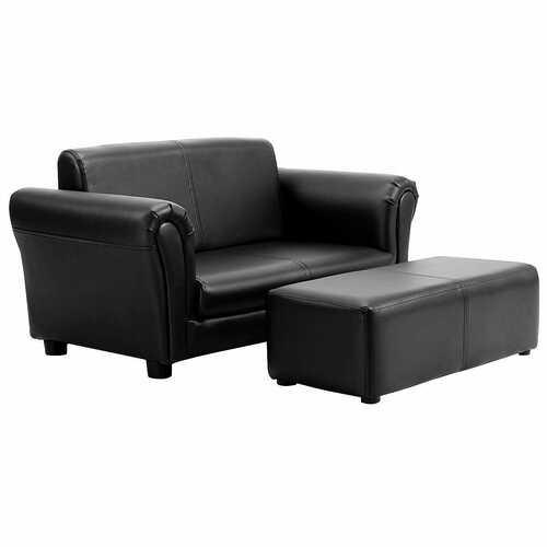 Black/White Kids Double Sofa with Ottoman-Black