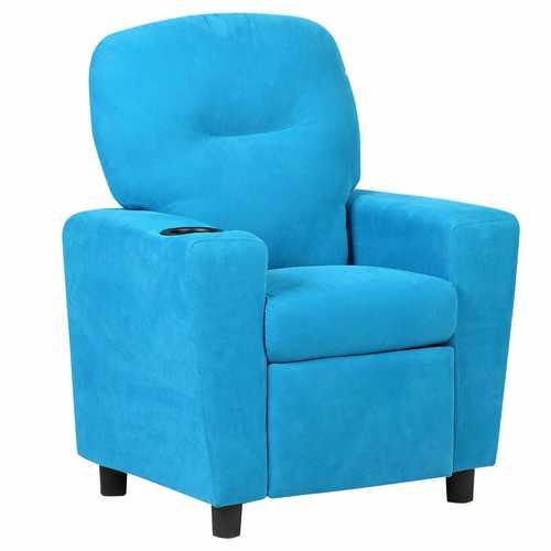 Kids Recliner Arm Chair-Blue/Brown