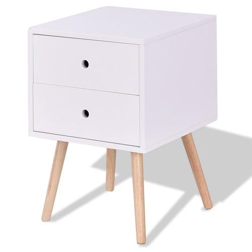 White Side End Table Nightstand w/ 2 Drawers