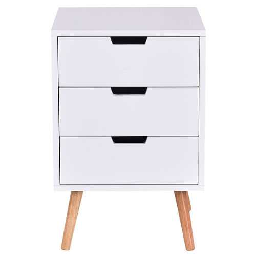 White Wood Side End Table Nightstand