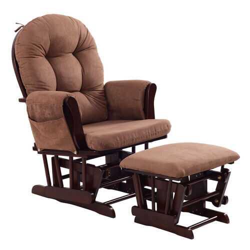 Adjustable Backrest Baby Nursery Rocking Chair & Ottoman Set-Brown