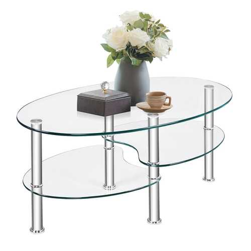 Tempered Glass Oval Side Coffee Table-Transparent