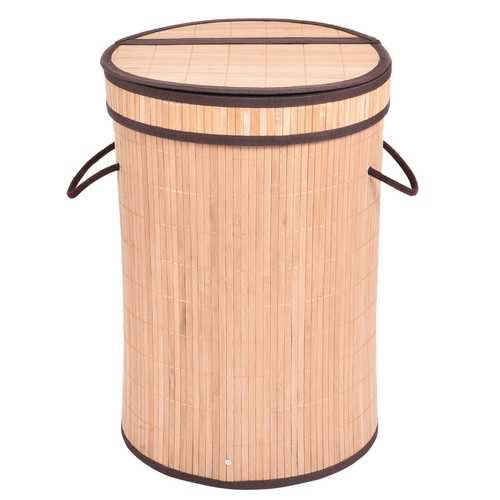 Round Bamboo Laundry Basket with Lid
