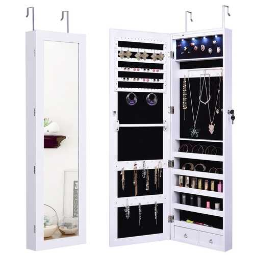 Lockable Armoire Jewelry Cabinet with LED Lights
